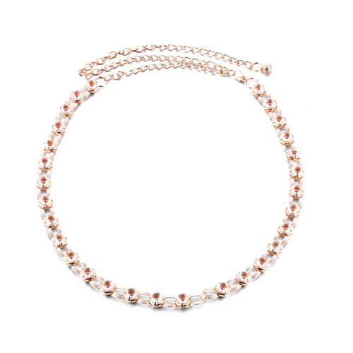 Crystal Diamante Waist Belt Gold Metal Adjustable Chain for Girls Women Dresses