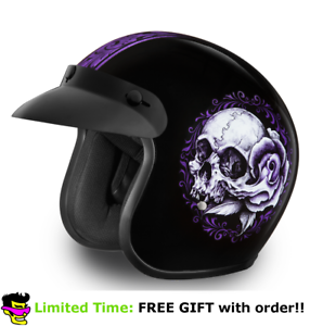 Daytona Floral Skull Purple 3//4 Open Face Cruiser Biker DOT Motorcycle Helmet
