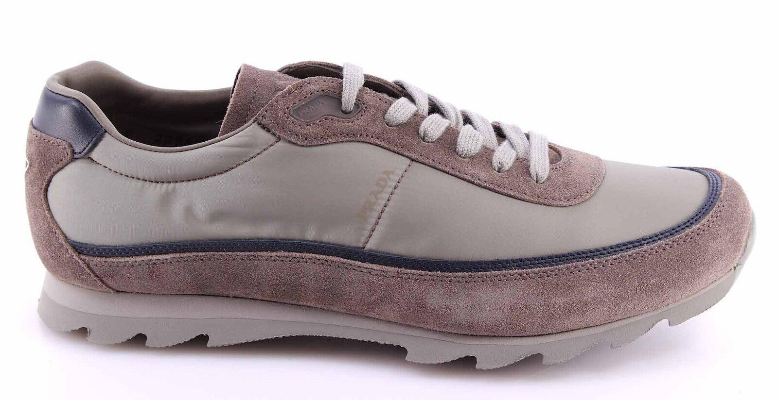 Herren Turnschuhe Schuhe PRADA 4E2094 Cromo grau Nylon Nevada2 Wildleder Beige