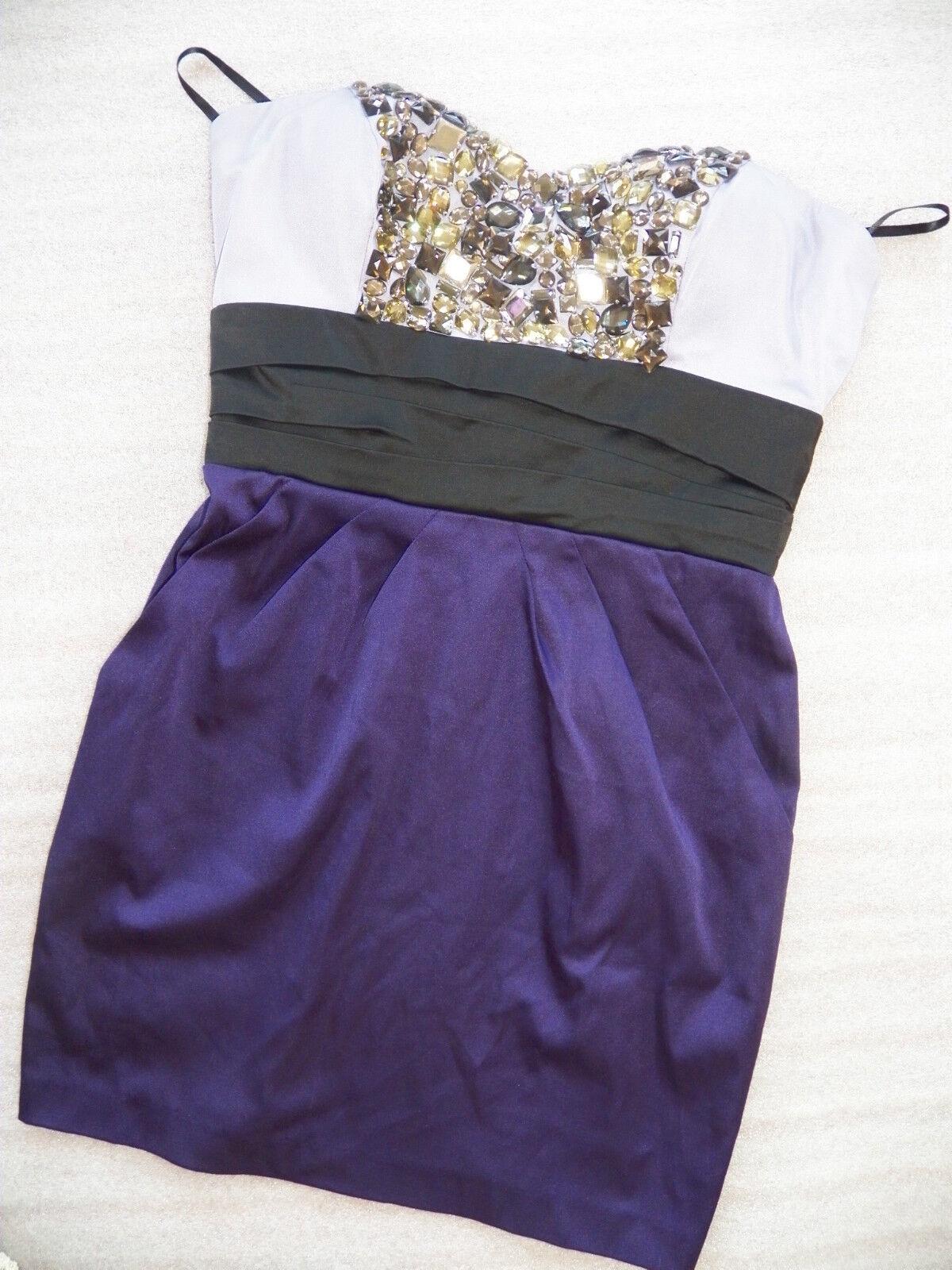 NWT bebe lila schwarz satin crystal beaded bustier strapless top dress M medium