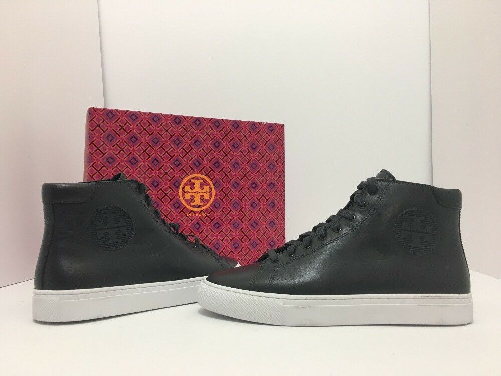 Tory Burch Nola High Top Navy Leather Flats Sneakers