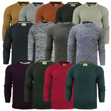 Mens Jumper Knitwear Knitted Crew Neck Fishermans Winter Rib Knit By Brave Soul