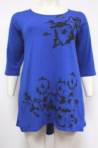 New Ladies Royal Blue Black Flower Long Dipped Hemline Tunic Top Sizes 16-32
