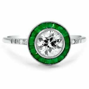 2-Ct-Round-Emerald-Synt-Diamond-Bezel-Set-Solitaire-Ring-White-Gold-Finsh-Silver