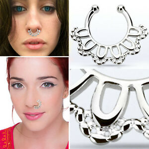 18g Fake Septum Clicker Silver Nose Ring Oval Chain Non Piercing