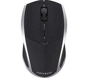 ADVENT AMWL3B15 Wireless 2.4 GHz Blue Trace Mouse Black & Silver