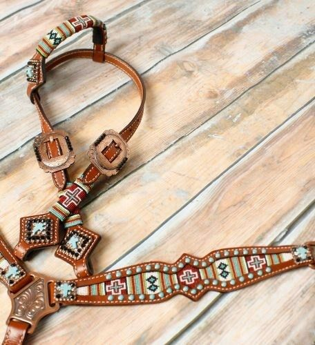 Showman Pony Tamaño con cuentas Navajo Cruz Cabezada & pecho collar conjunto    nuevo Tachuela