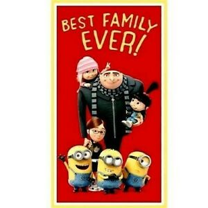 MINIONS-DESPICABLE-ME-BEST-FAMILY-EVER-FABRIC-QUILTING-TREASURES-23-034-x44-034-PANEL
