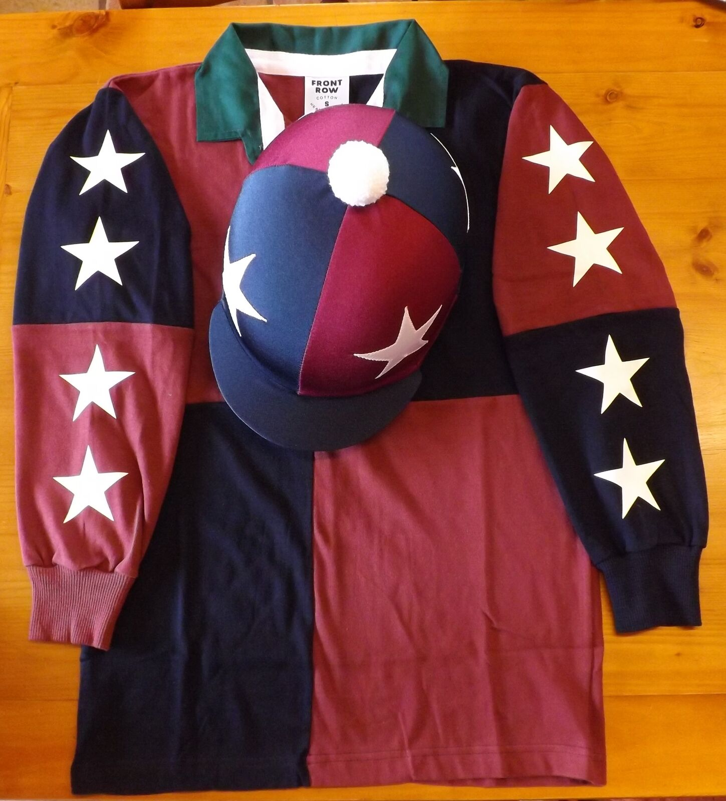 XC Colours Navy burgundy Rugby shirt+ white & navy stars +hat cover  size 10 12