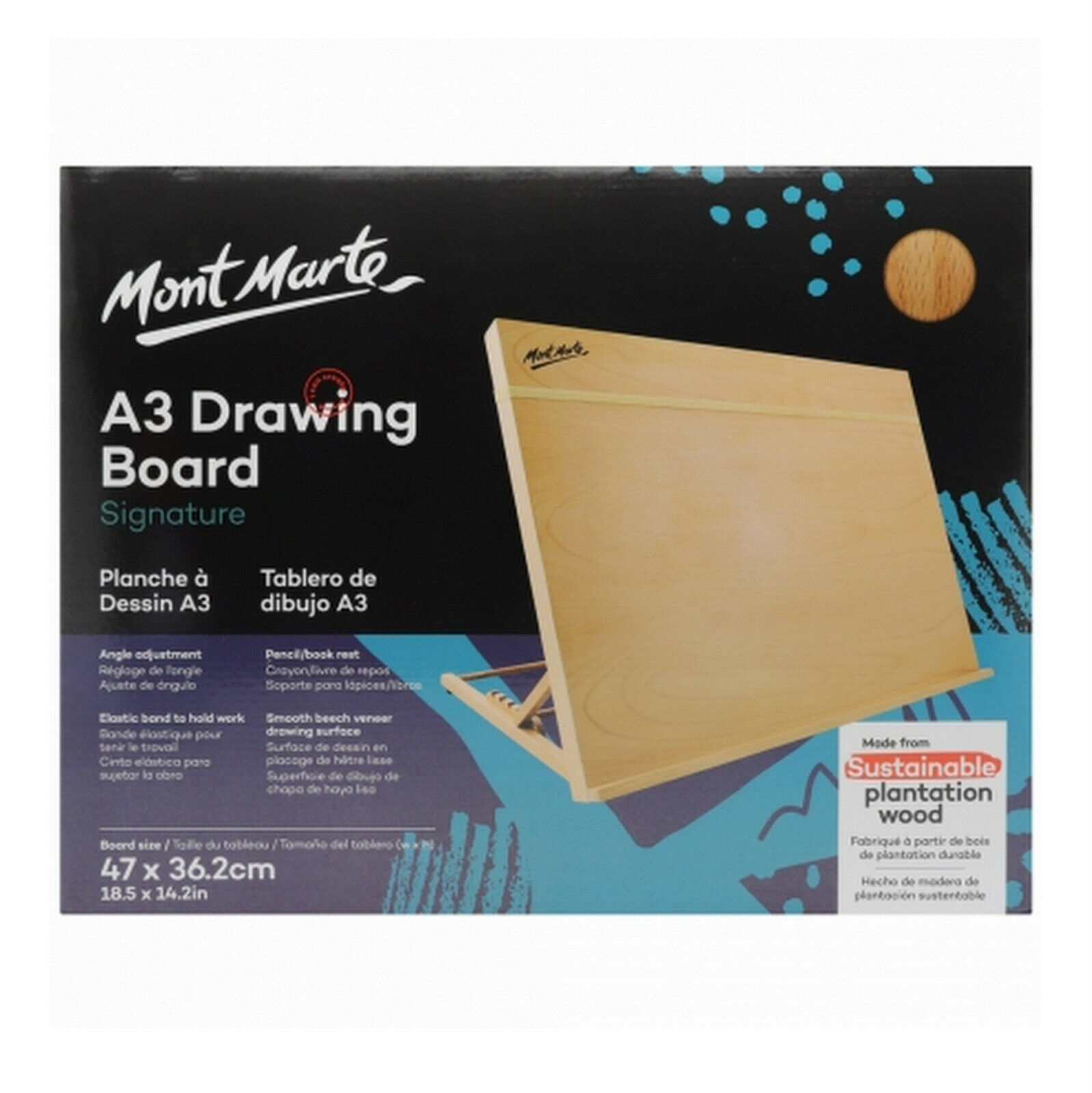 MIRATUSO Desktop Drawing Board A3 Desk Easel Sketching Board 4-Position Adjustable Table Easel Painting Board for Artists Children Beginners