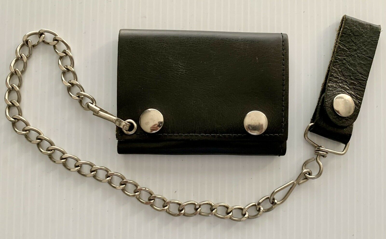Black Tri Fold Leather Bikers Truckers Wallet With Belt Chain