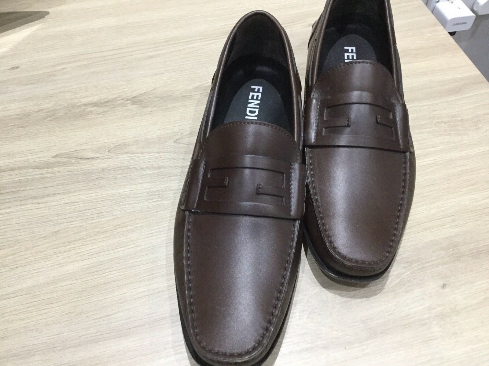 Fendi Men's Loafers, Calf Leather Brown. Rubber Sole RRP400