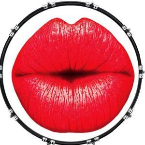 aquarian 22 kick bass drum head graphical image front skin lips kiss ebay. Black Bedroom Furniture Sets. Home Design Ideas