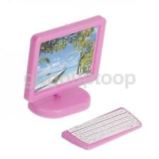 Pink Miniature Plastic Monitor Keyboard Computer Set For Barbie Doll House
