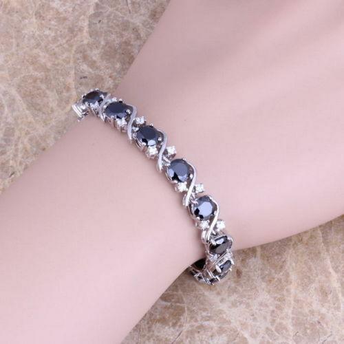"Sterling Silver Dipped Blue Sapphire White Topaz Tennis Bracelet Curved cross 7/"""