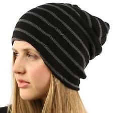 Winter Chunky Stripe Stretch Long 2ply Knit Slouchy Beanie Skull Hat Ski Black