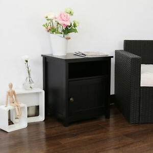 Details About Kinbor Nightstand Bedroom Bedside End Table Storage White Black Shelf W Door