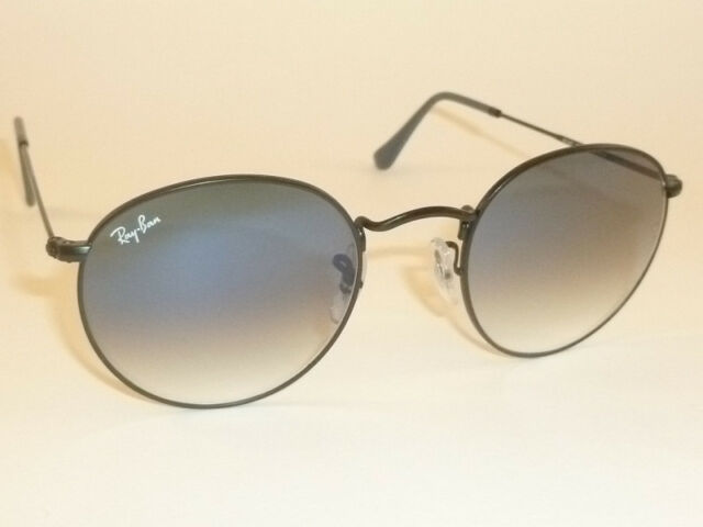347c2ee047e0 New RAY BAN Sunglasses ROUND METAL Black Frame RB 3447 006/3F Gradient Blue
