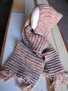 4411f2ca35c Hand Knit Scarf Hat all in one Handmade Cap Warm Hood Scarf Shawl ...