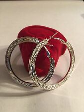 """NEW STERLING SILVER PLATED 2"""" ROUND EARRINGS --E183"""
