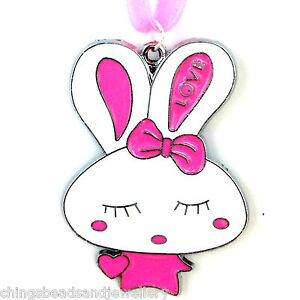 4-Enamel-54x38mm-Easter-Bunny-Charms-Jewellery-Making