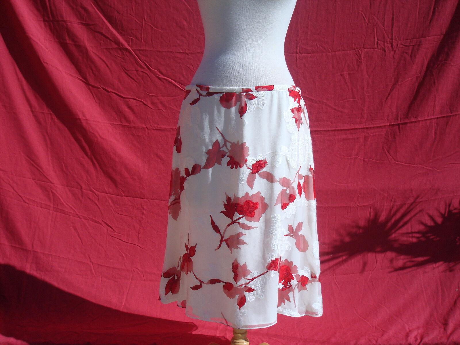 NWT Escada Silk Viscose Ivory White Red Floral Women's Skirt Sz 44 Germany  1100