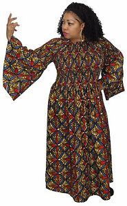 21454126bbf Women s Traditional Print Elastic Chest Long Bell Sleeves Long Maxi ...