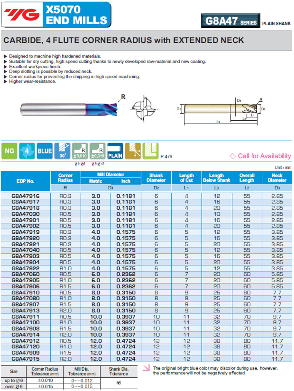 4mm 4FL .5mm Radius YG1 X5070 Blue Hi Feed End Mill for Hardened Steels to HRc70