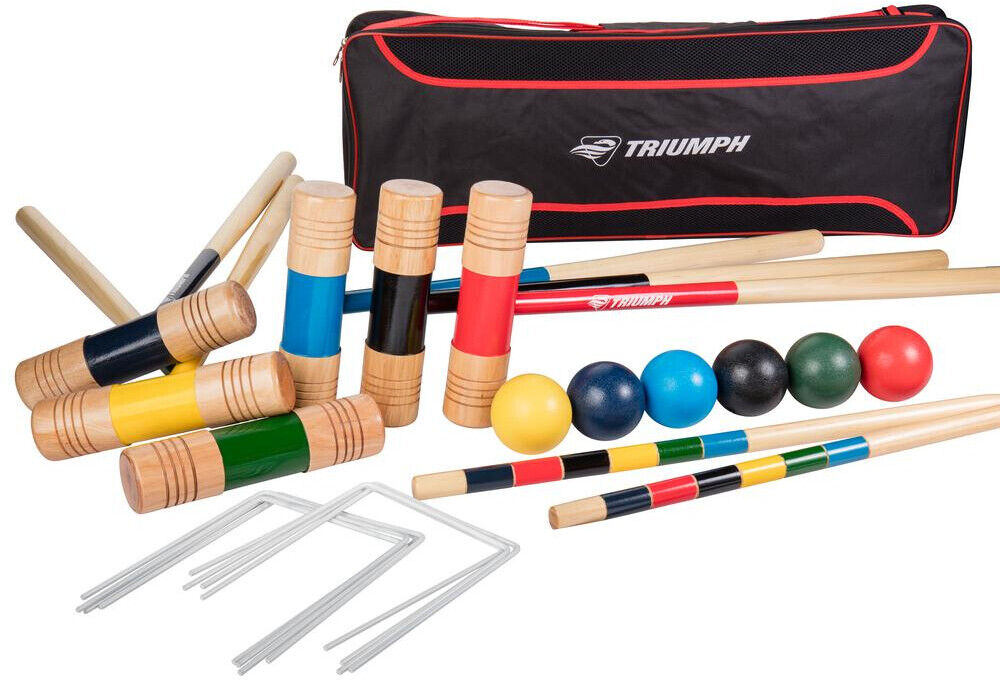 Croquet  Set Durable Hard Wood Mallets All Pro 6 Player With Padded Shoulder Bag  fast delivery and free shipping on all orders