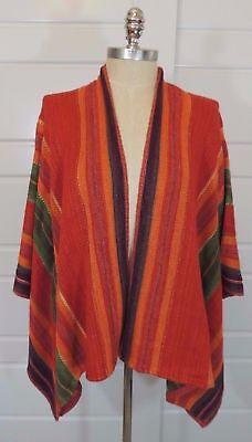 998 Ralph Lauren Linen Silk Serape Indian Striped Sweater