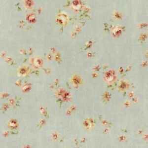Cottage-Shabby-Chic-Lecien-Durham-Quilt-Roses-Floral-31928L-71-Dusty-Blue-BTY