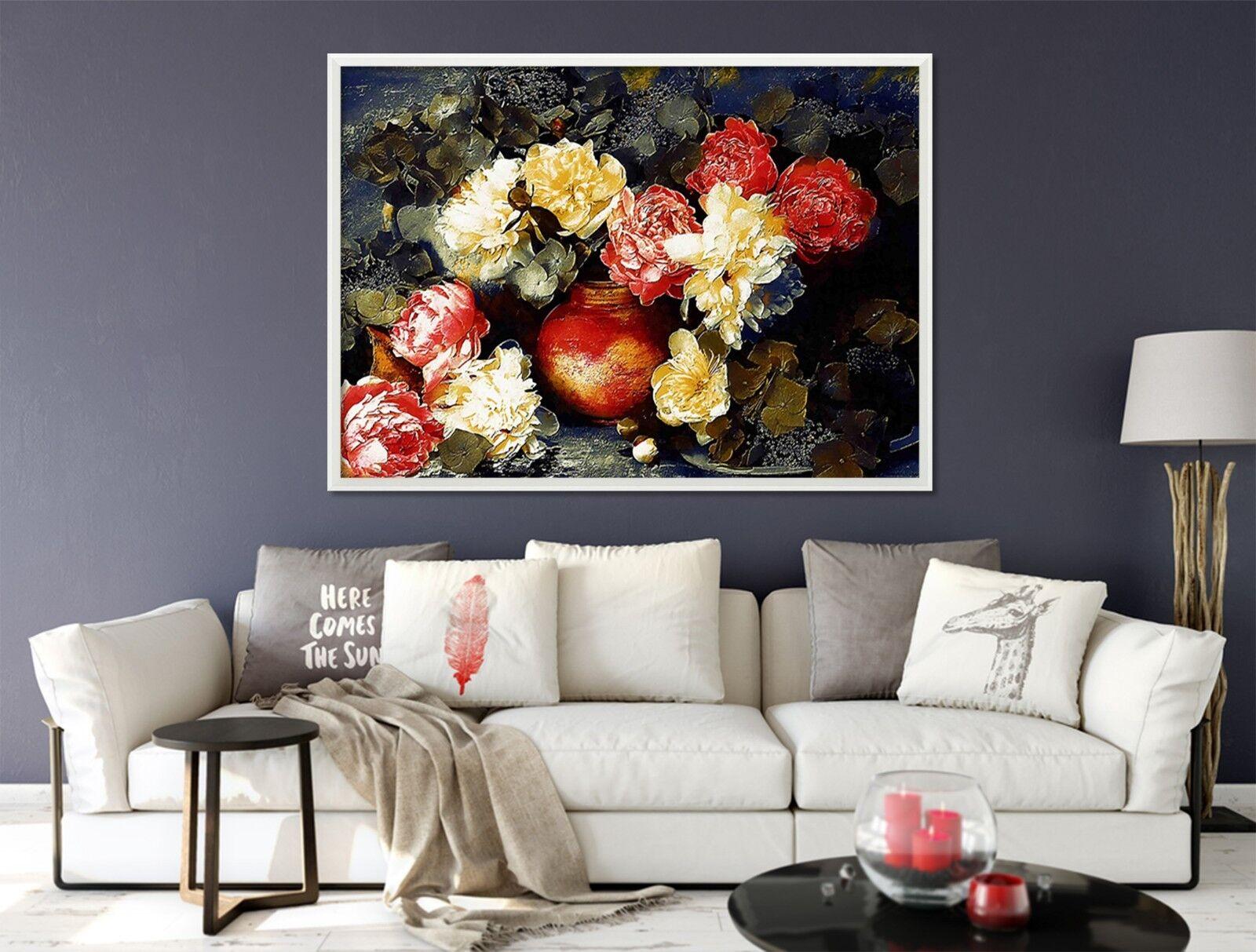 3D Flor Florero 2 Póster Enmarcado Decoración del Hogar Pintura de Impresión Arte Wallpaper