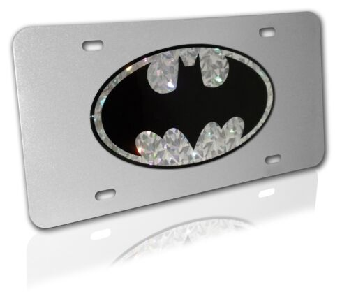Batman Silver Reflective Decal on Brushed Metal License Plate