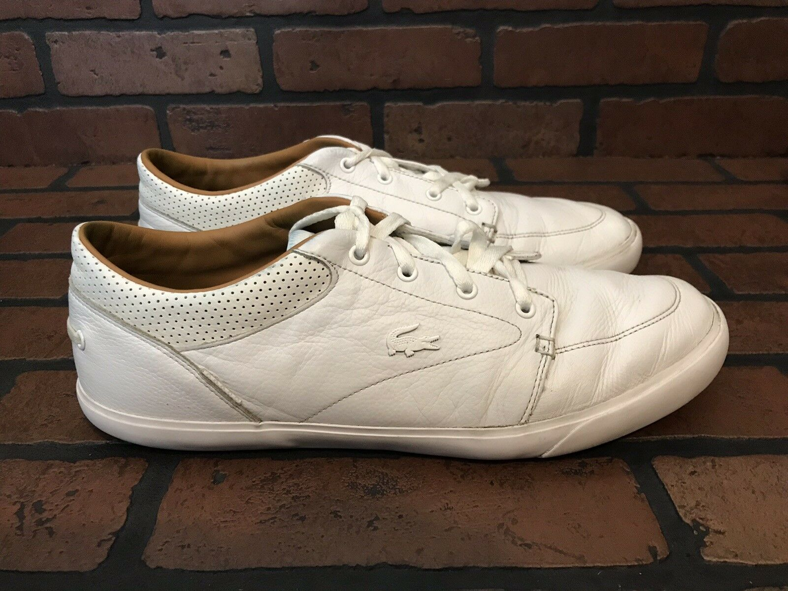 Lacoste Sneakers All White Leather Size 11.5