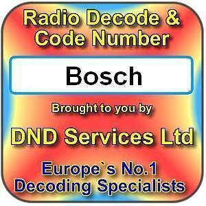 Details about Bosch Radio Code Decode Unlock Service by Serial Number