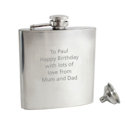Frutiger Funnel+Gift Box Personalised Engraved Stainless Steel 6oz Hip Flask