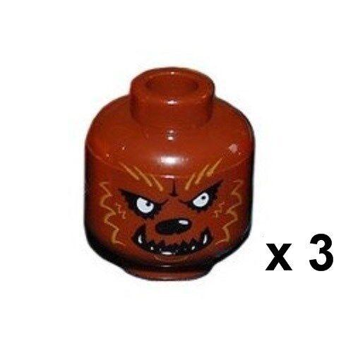 Lego Castle Kingdom Knights ~ Lot of 3 Werewolf Brown Heads x 3 NEW