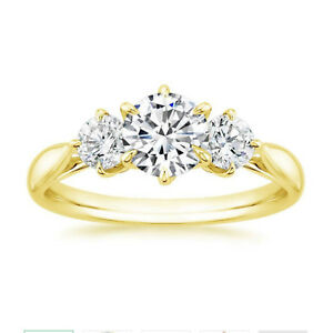 Real 1 00 Ct Moissanite Wedding Band Solid 14k Yellow Gold
