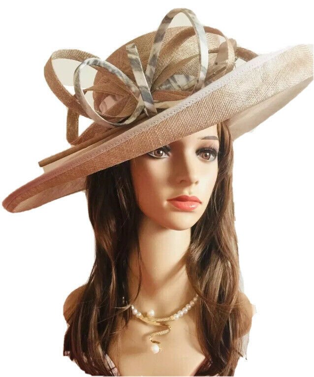 Vivien Sheriff Millinery Taupe Wide Brim Hat Brand New In Hat Box RRP
