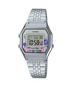 NEWEST-Casio-LA680WA-4C-Women-Mid-Size-Silver-Digital-Retro-Vintage-Watch-FLORAL