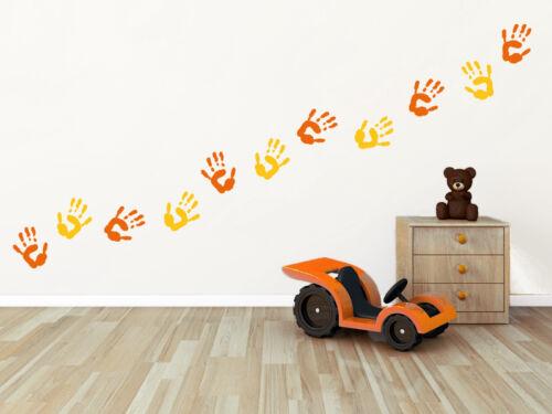 16 Handabdrücke bunt Handabdruck Hand Kinderzimmer Baby Wandaufkleber WandTattoo