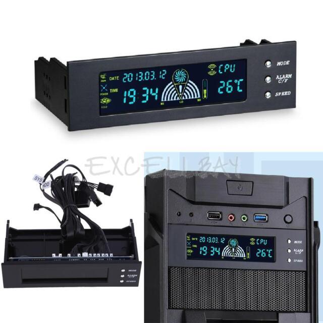 "5.25"" Digital LCD Panel Fan Speed Controller CPU HD Temp Temperature Sensor PC"