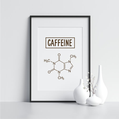 Caffeine Framed Coffee Print Kitchen Art Poster Prints Illustrations