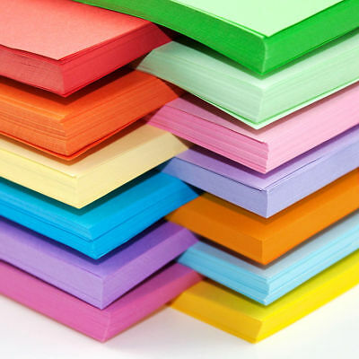 100 x A6 Coloured Card Art Craft Sheets Bright Pastel Neon 160gsm Laser Inkjet
