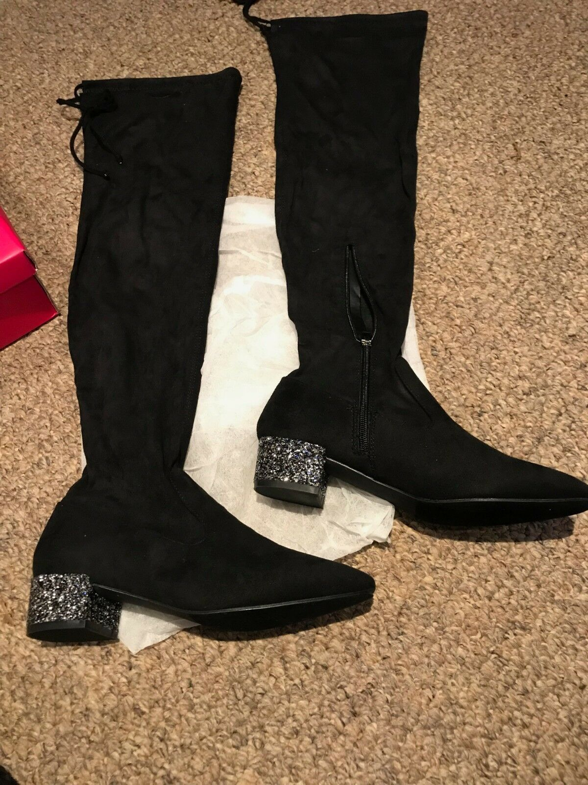 Catherine Malandrino Faux Suede Over the Knee Boots - Glitzy - Size 7.5