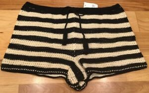 aa6a2a6f8ebc Gap Women's Large (L) Black & Cream White Striped Crochet 3 Inch ...