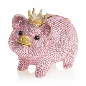 Jay Strongwater Gatsby - Pave Piggy Bank 14K gold, Swarovski  SDH6653-206 NEW