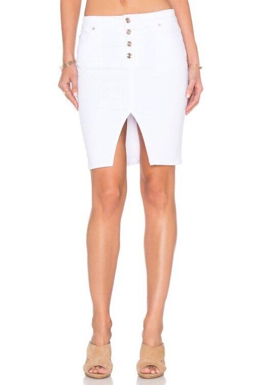 NWT Joe's Jeans Women's White Button Front Denim Skirt Size 25