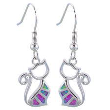OES628 Black Friday Cat Design Pink Fire Opal Silver Fashion Drop Earrings