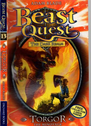 1 of 1 - BEAST QUEST #13 The Dark Realm TORGOR The Minotaur ADAM BLADE 4 Collector Cards